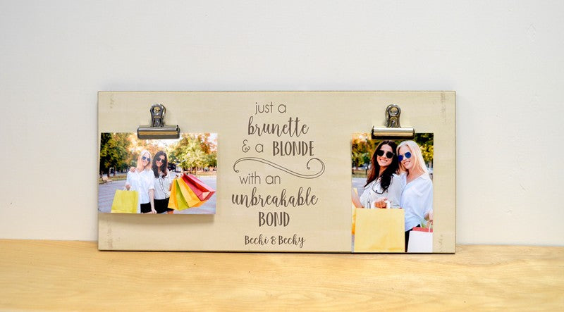 farmhouse photo frame, brunette and blonde, personalized birthday gift for best friend