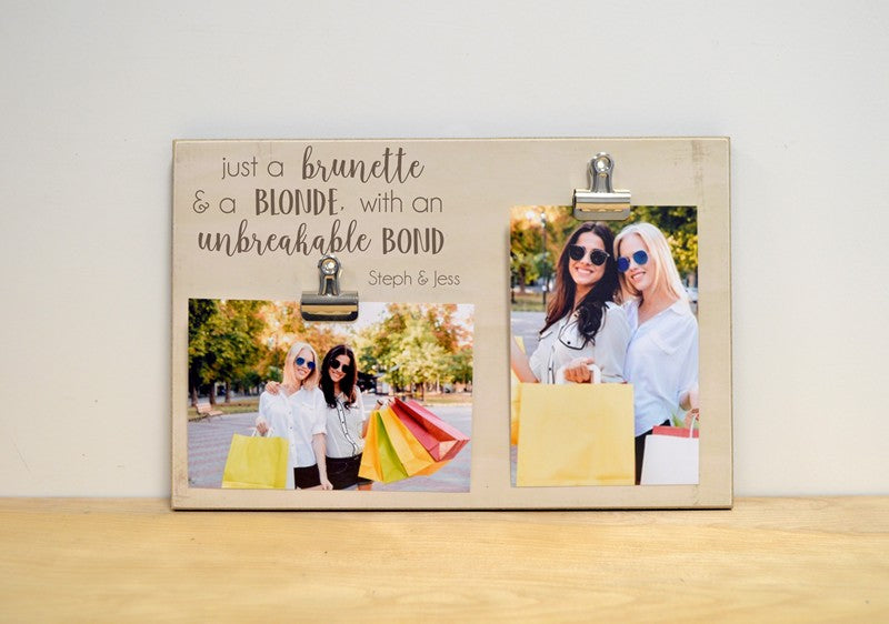 brunette and blonde photo frame for best friends, farewell gift, going away present, brunette and blonde with unbreakable bond 2 clip picture frame