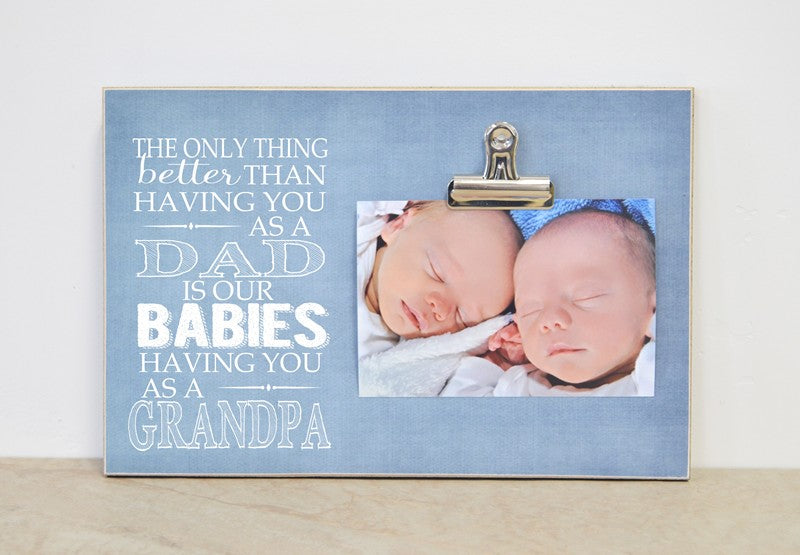 twins pregnancy-Dad/grandpa babies frame 8x12