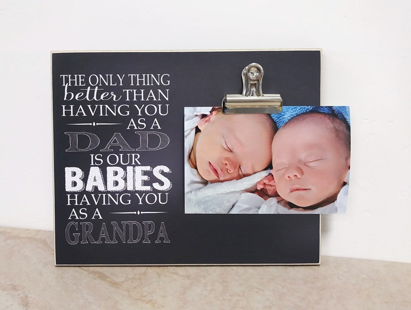 twins pregnancy reveal gift for grandpa, new grandpa gift photo frame