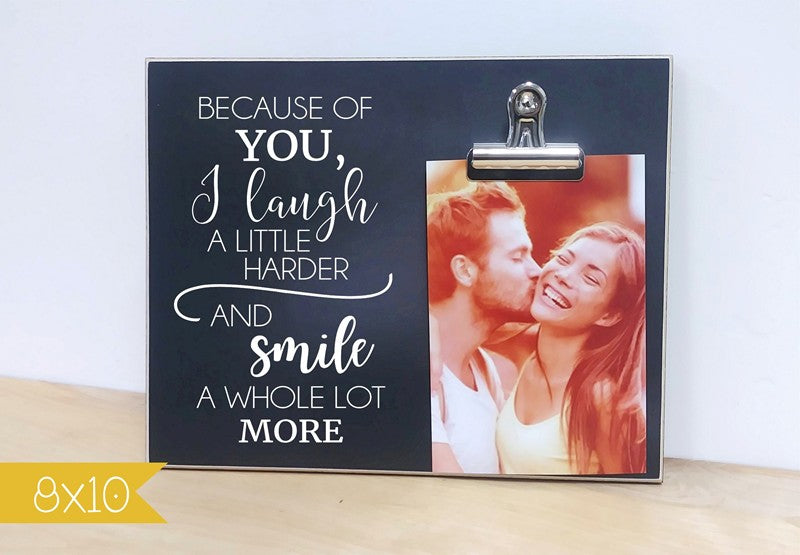 chalkboard photo frame couples gift - because of you - personalized frame