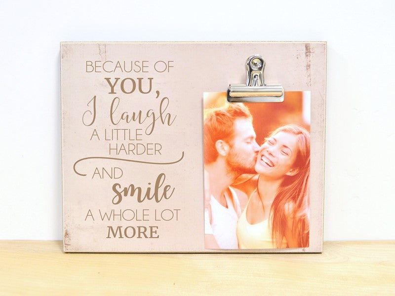 because of you photo frame gift for couples
