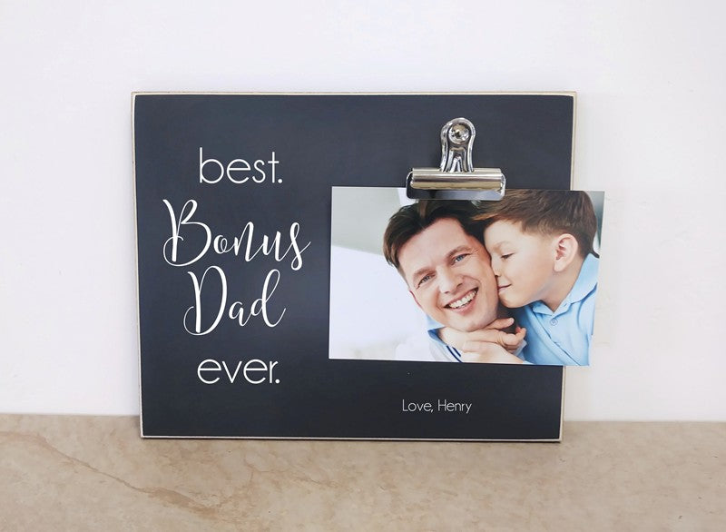 stepfather gift, best bonus dad personalized photo frame