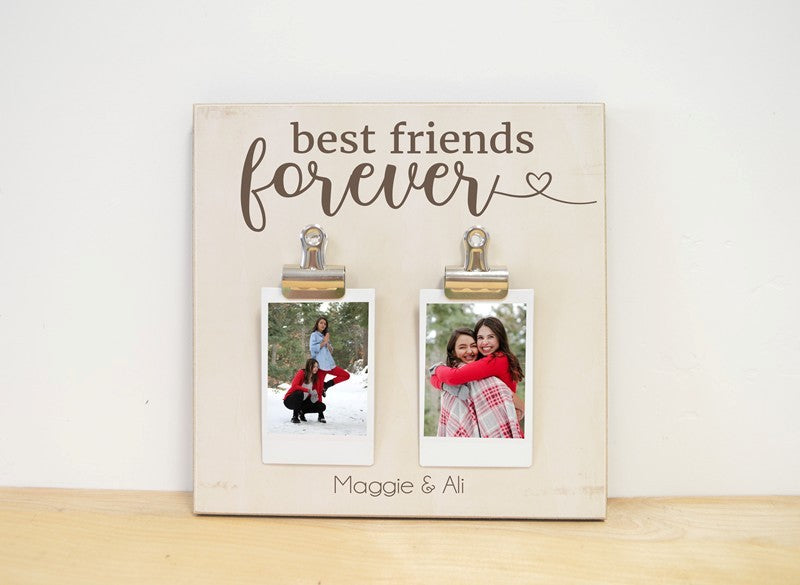 custom photo frame for best friend. Best friends forever frame comes with 1-3 clips for you to attach your favorite photos, names included
