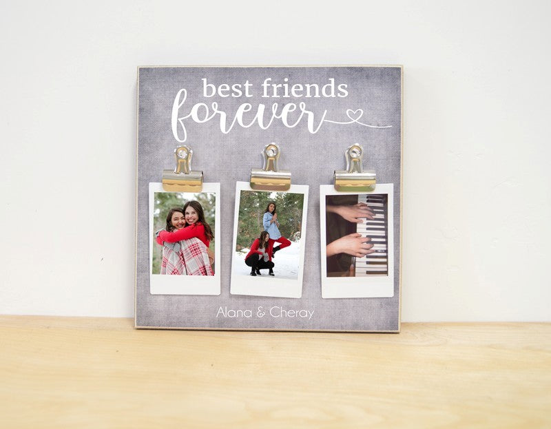 personalized photo frame for best friend with clips for small or instax photos. includes the names on it