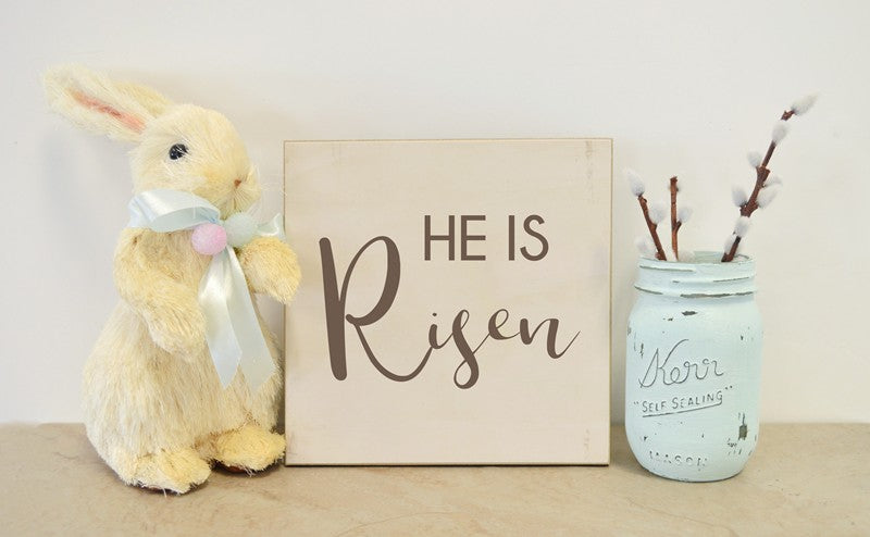 farmhouse easter sign, he is risen spring decor