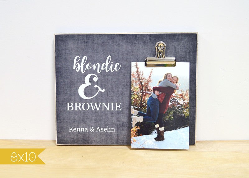 blondie and brownie photo frame gift for best friends brunette and blonde
