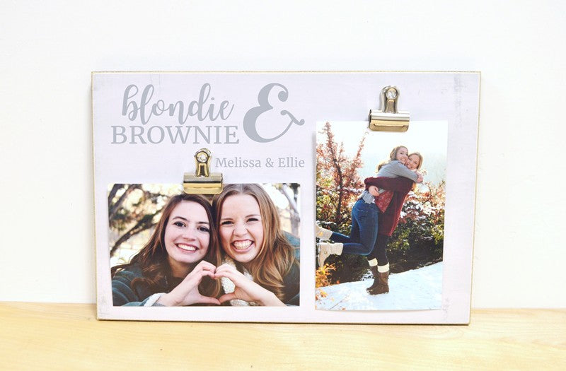 friendship photo frame, blondie and brownie, best friend gift