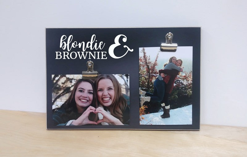 chalkboard photo frame, gift for bff blondie and brownie picture frame