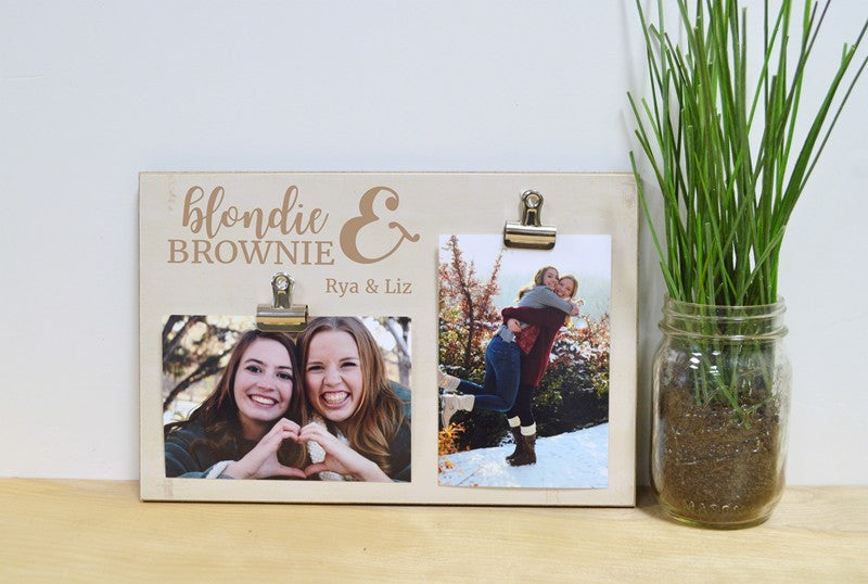 brunette and blonde photo frame, friendship gift