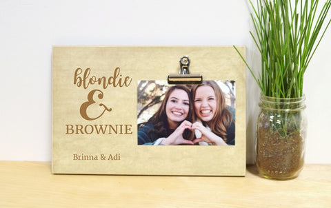 brunette and blonde picture frame gift for best friends gift