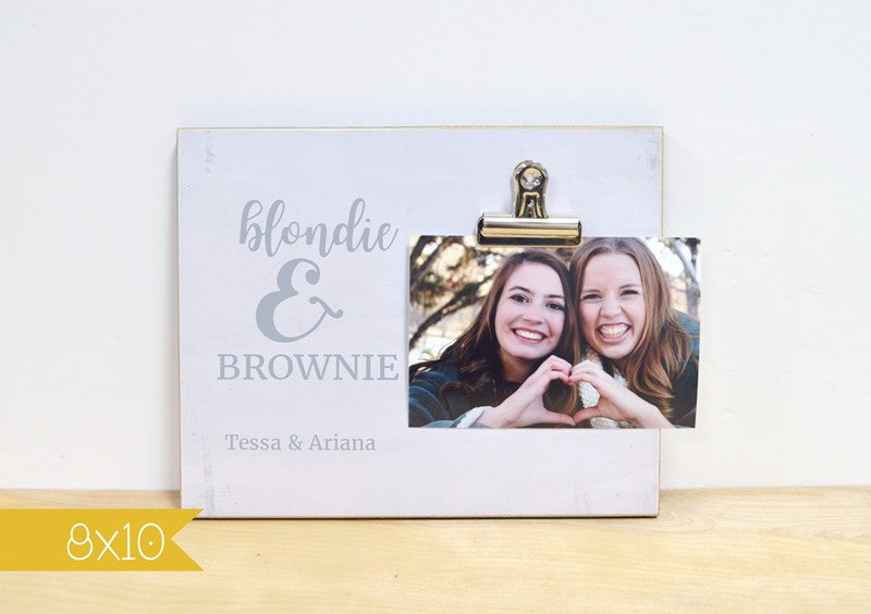 blondie and brownie friendship gift for brunette and blonde best friends, bff gift personalized photo frame