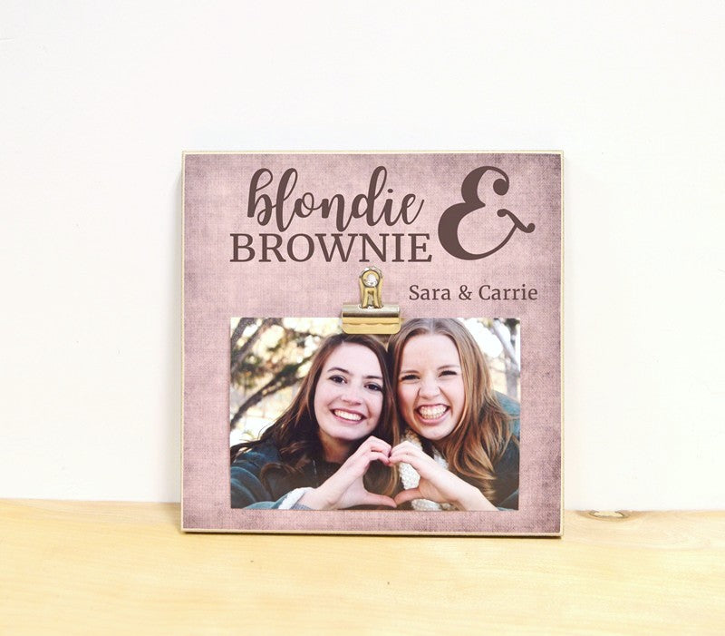 personalized friendship gift for brunette and blonde - blondie and brownie best friends gift