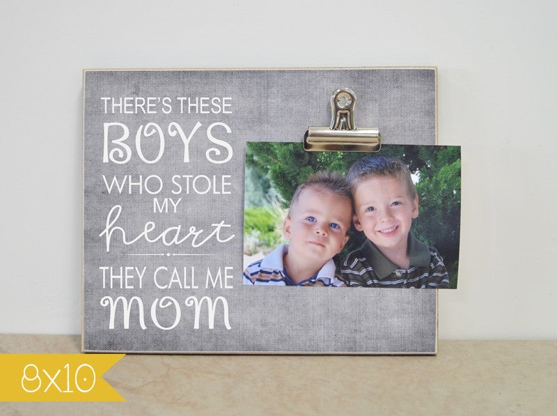 there's these boys who  stole my heart, they call me mom picture frame, custom photo frame, personalized gift frame