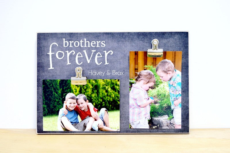 brothers forever photo clip frame with 2 clips for pictures of brothers. custom photo frame is personalized with names