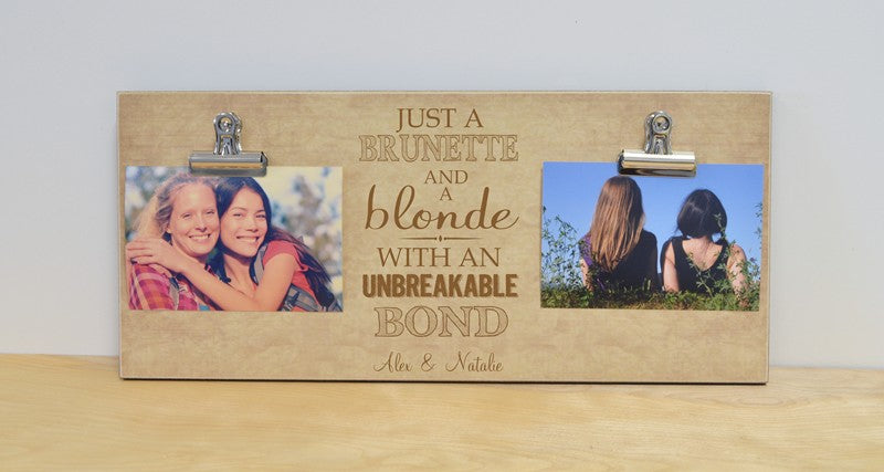 personalized gift, brunette and blonde photo frame