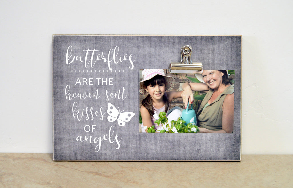 memorial photo frame, butterflies are the heaven sent kisses of angels, personalized sympathy gift