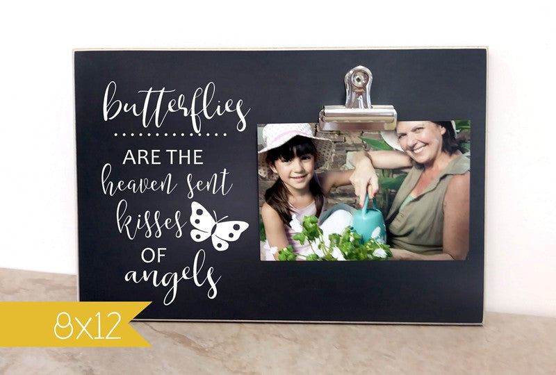personalized memorial gift, custom photo frame, butterflies heaven sent kisses of angels