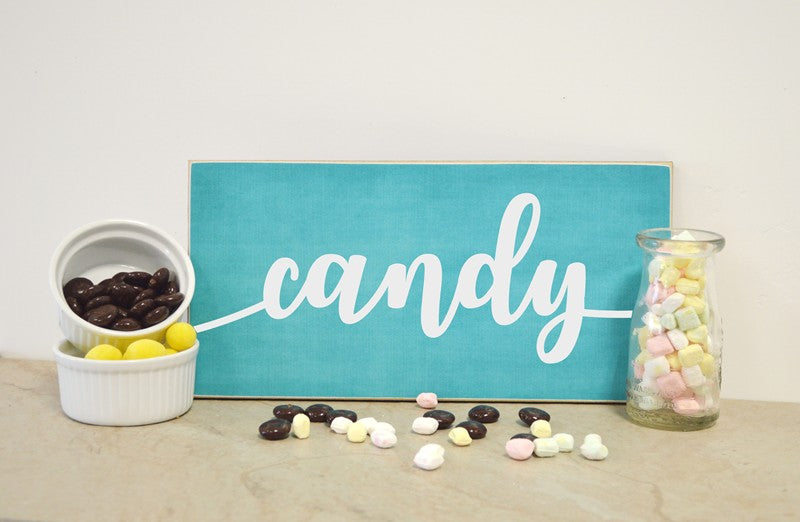 candy wooden sign for wedding or bridal shower, candy sign table decoration