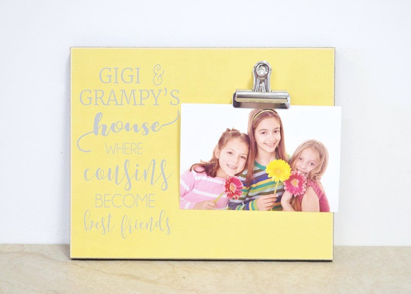 personalized gift for grandparents, where cousins become best friends photo frame