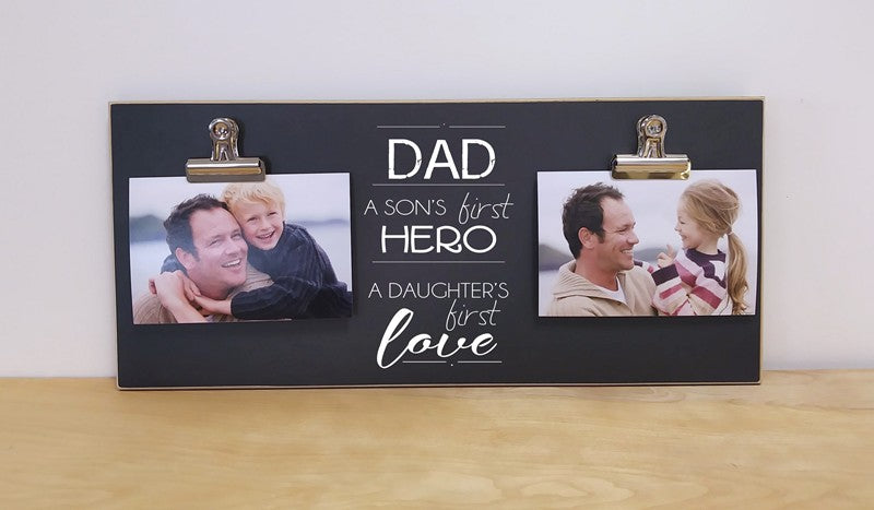 sons first hero daughters first love photo frame gift for dad, father's day gift or christmas gift