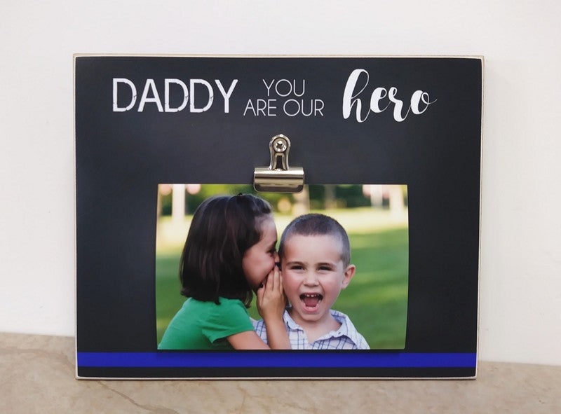 thin blue line photo frame, gift for leo gift for dad, father's day gift for police officer