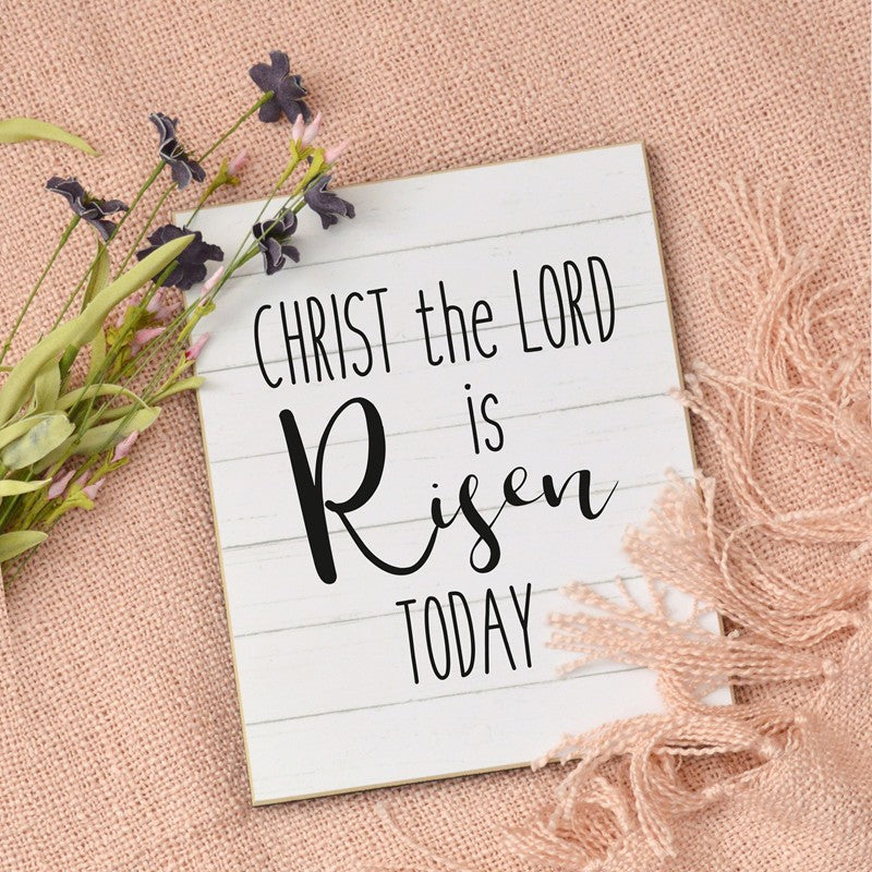 farmhouse easter sign, christ the lord is risen today, easter decoration sign