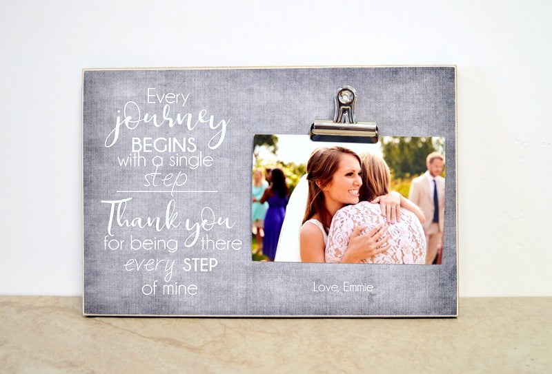 father of the bride or mother of the bride thank you gift, personalized photo frame - thank you for being there every step of my journey