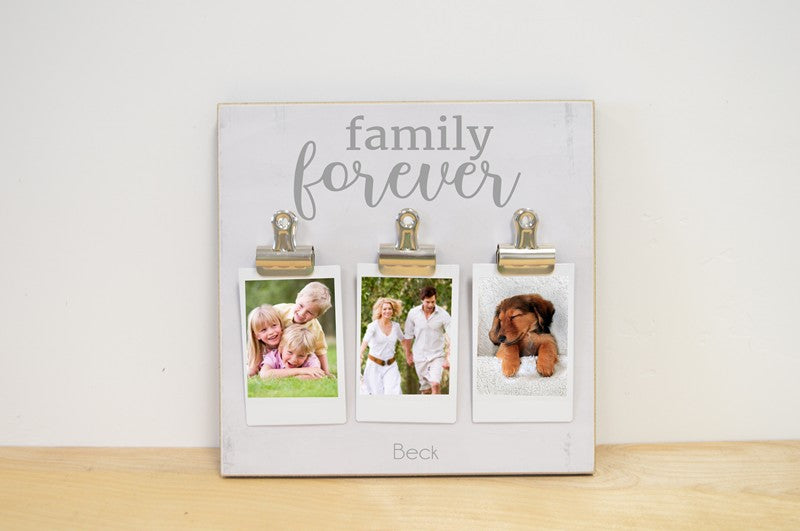 custom family is forever photo frame, personalized with family's name, multiple clips for instax photos