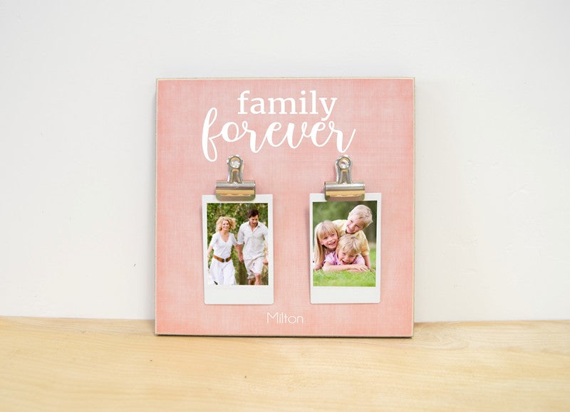 pink - personalized family photo frame - custom picture frame for family pictures, family forever frame personalized with family's name and photo clips