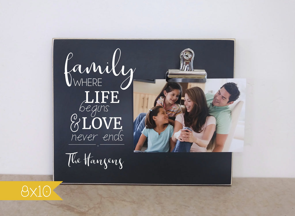 chalkboard photo frame family where life begins and love never ends