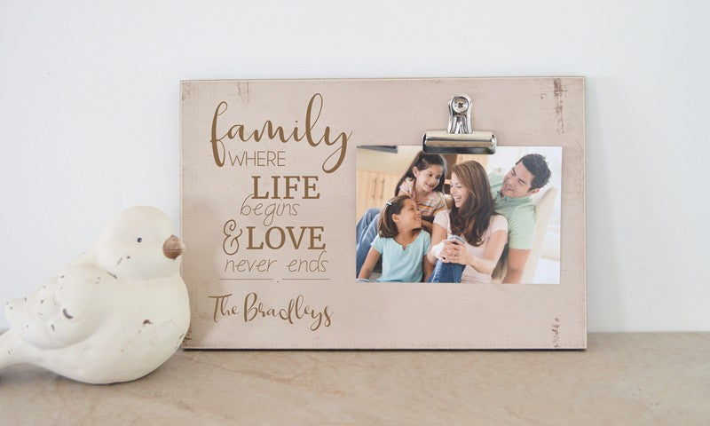 family photo frame where life begins and love never ends