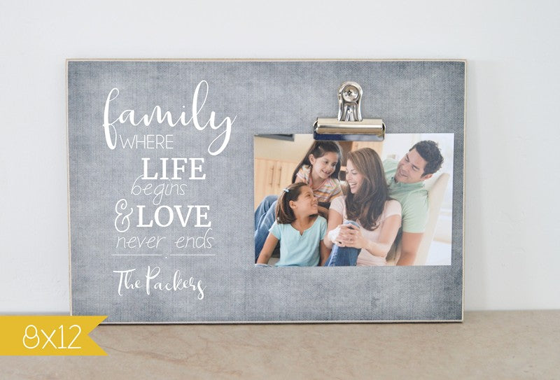 family photo frame gift for family, where life begins and love never ends