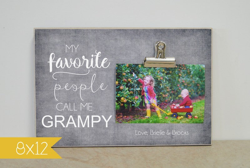 photo frame gift for grandpa - my favorite people call me grandpa, personalized picture frame