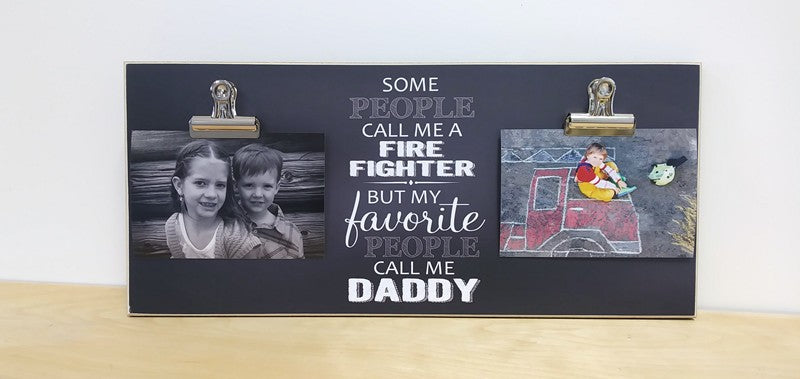 2 clip photo display board, my favorite people call me daddy fire fighter photo frame gift for dad, father's day gift