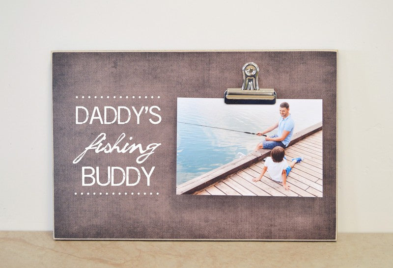 Daddy's fishing buddy photo frame, father's day gift for dad