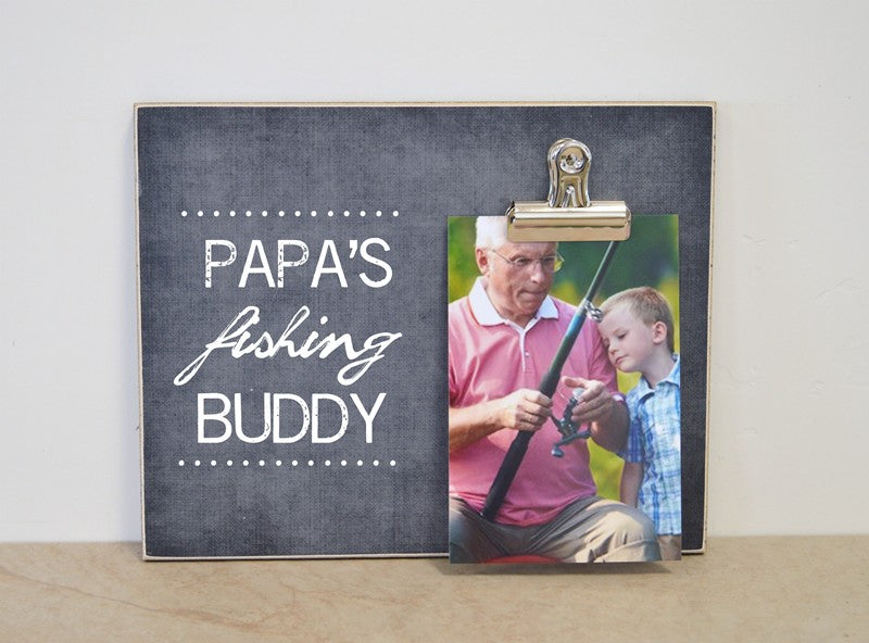 papas fishing buddy photo frame fathers day gift for papa