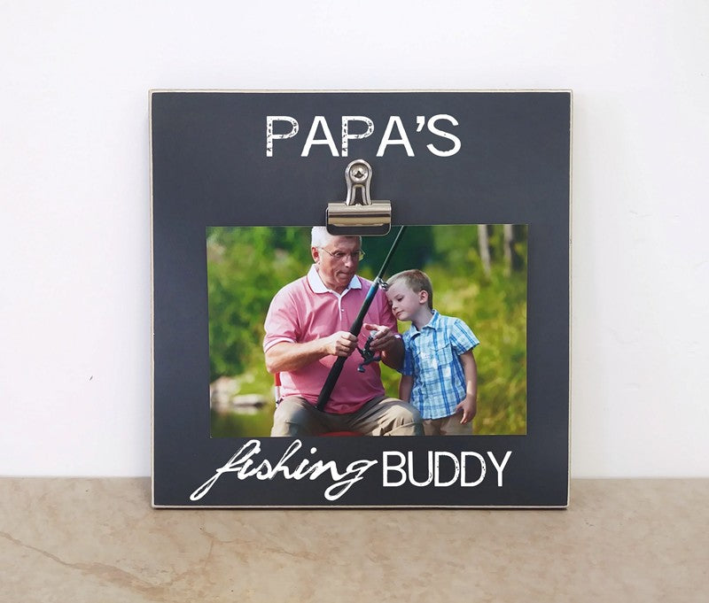 papas fishing buddy photo frame gift