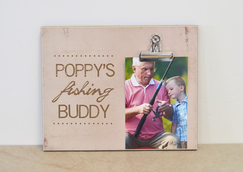 fathers day gift for poppy poppys fihisng buddy photo frame with clip