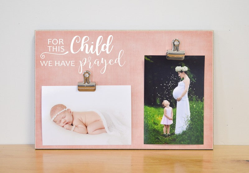 for this child we have prayed photo frame for pregnancy reveal, pregnancy announcement