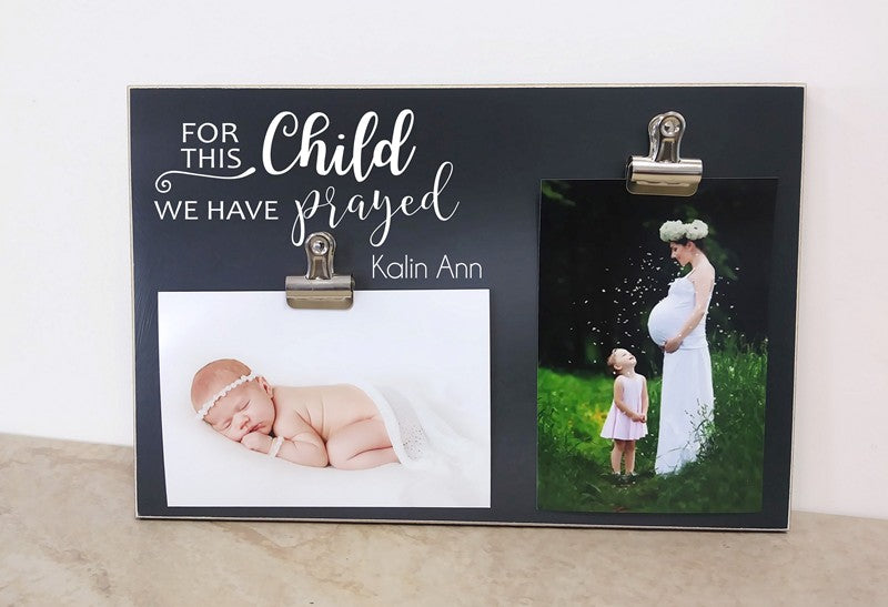 chalkboard photo frame, for this child we have prayed nursery decor, baby's room decor