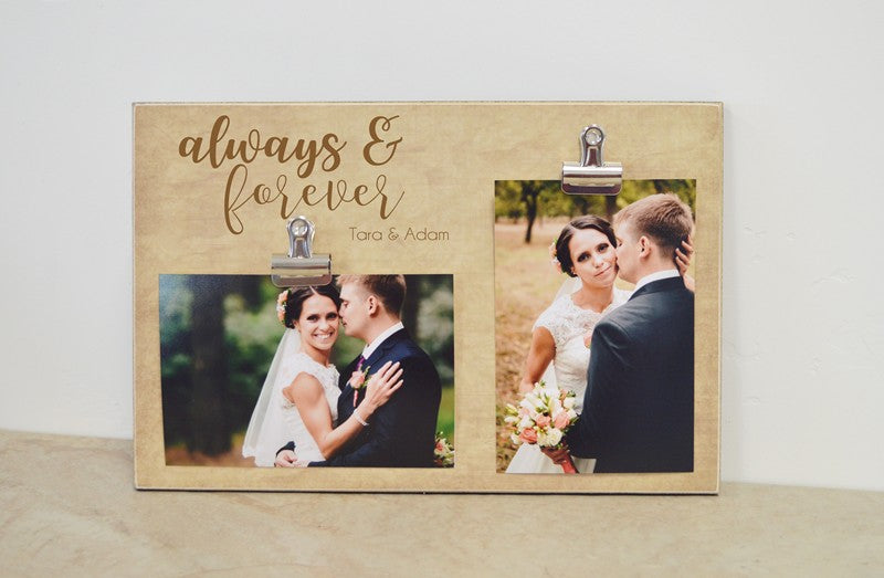 personalized photo frame gift for couple, gift for him, gift for her, anniversary always and forever picture frame