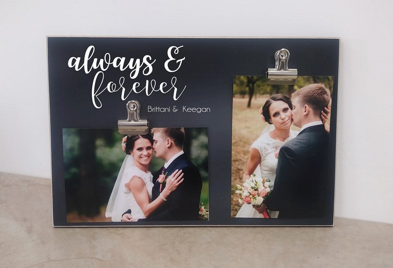 chalkboard wedding frame, always and forever personalized picture frame