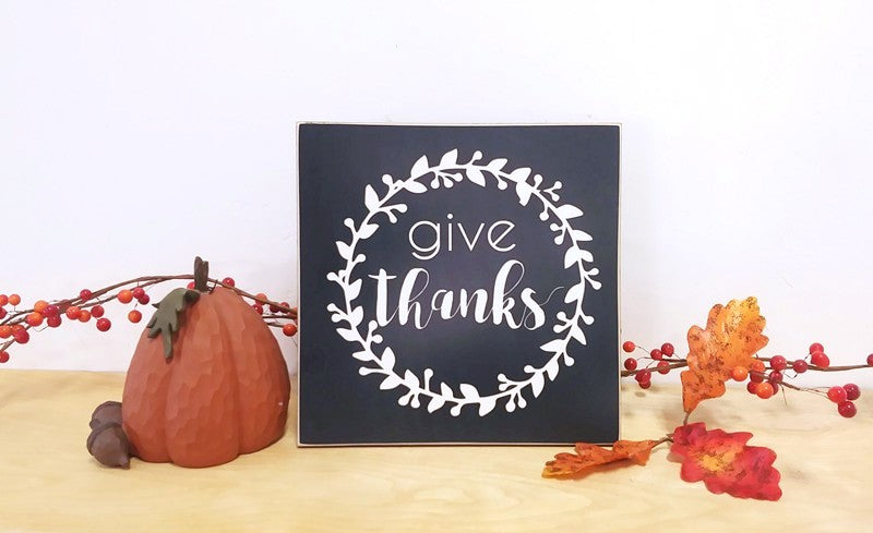give thanks, thanksgiving deoration wooden sign for fall