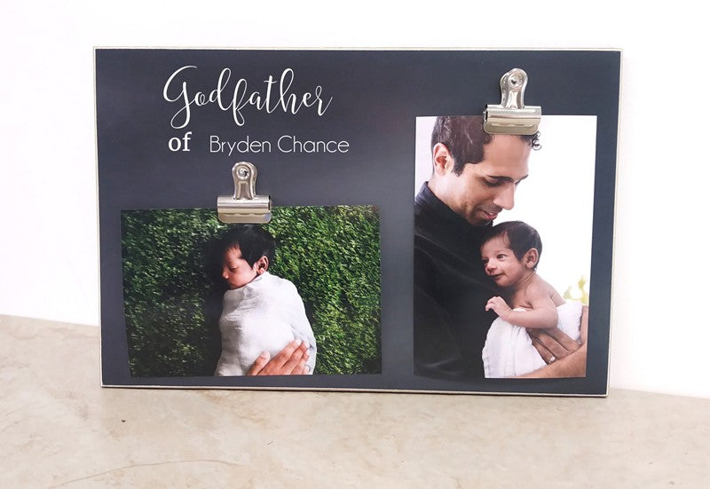 godfather frame, baptism gift 2 clips