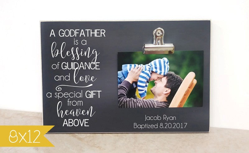 a godfather is a blessing, godfather proposal, godfather gift, gift for godfather,  christening gift, gift for godmother, godmother gift, gift for christening, baptism gift, gift for baptism, photo frame, picture frame, godparent gift, gift for godparent