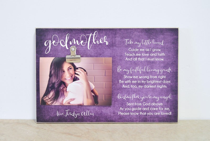 personalized godmother photo frame, baptism gift for godmother, thank you gift