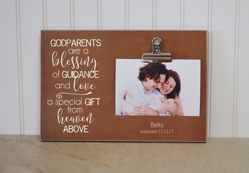 godparents are a blessing christening photo frame