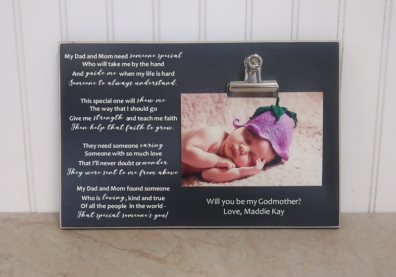 will you be my godparents poem and  photo frame, godmother gift, baptism gift