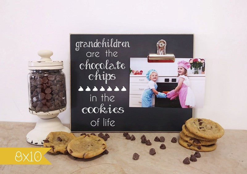 grandchildren are the chocolate chips in the cookies of life, chalkboard photo frame gift for grandpa, gift for grandma